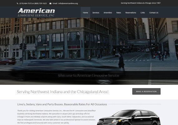 American Limousine Service website by Valpo Web Design