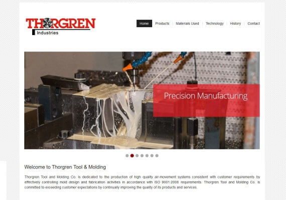 Thogren Industries website by Valpo Web Design